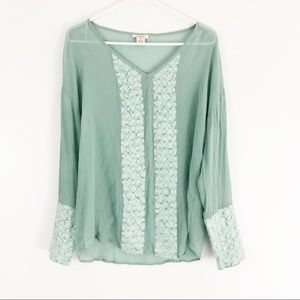 Sundance Sage Green Silk Floral Embroidered Blouse